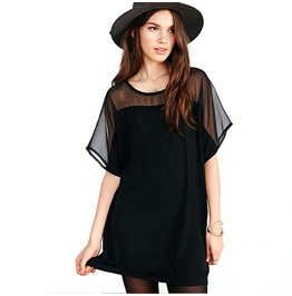 Women's Grenadine Chiffon Colorblock Short Sleeve Dress