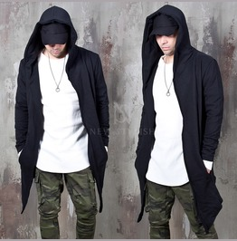 Asymmetric Distressed Black Hood Cardigan 110
