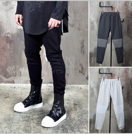 Wave Pattern Contrast Knee Sweatpants 275