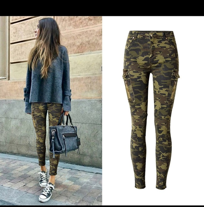 exquisite design online here delicate colors Women's Side Pocket Slim Fitted Camouflage Jeans