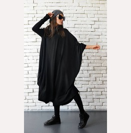 Maxi Black Dress/Black Kaftan Dress/Oversize Loose Tunic/Extravagant Dress