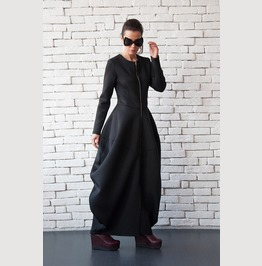 Extravagant Long Coat/Asymmetric Maxi Dress/Victorian Style Dress