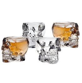 Set Of 4 Crystal Head Transparent Skull Shot Glass