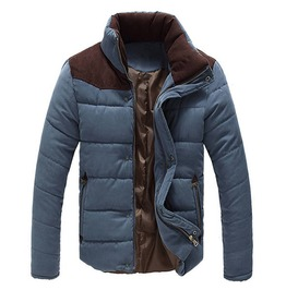 Stand Collar Thick Quilted Autumn Winter Jacket Men