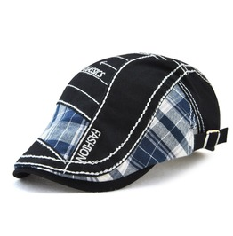 Men's Grid Colorblock Embroideried Beret Hat Cap