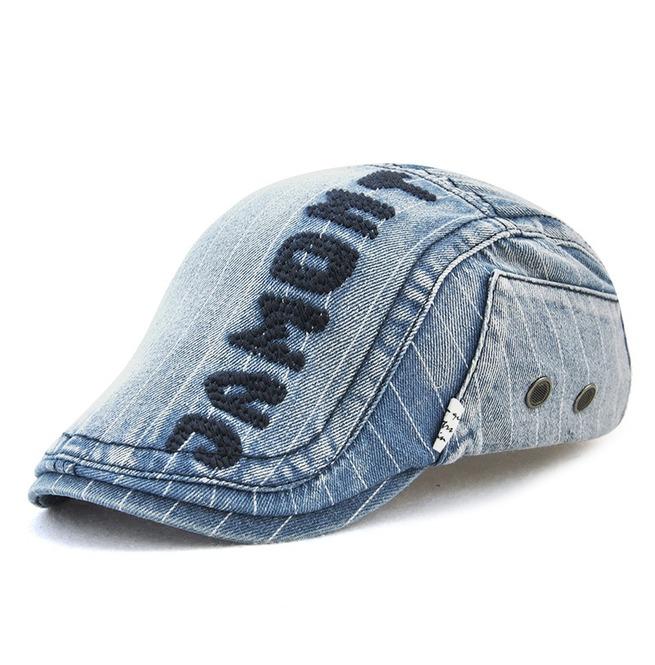 Fashion Jamont Letter Embroideried Denim Beret Hat Cap  ff9475b4e91