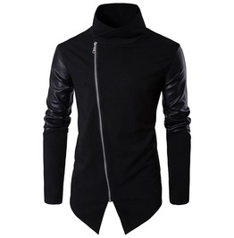 Stand Collar Pu Leather Patchwork Oblique Zipper Asymmetrical Jacket Men