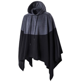 Oversize Hooded Sweatshirt Mantle Poncho Men Plus Size