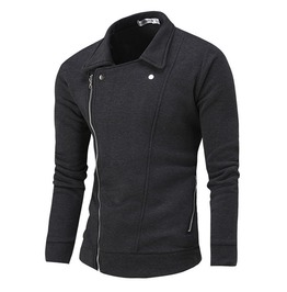 Oblique Zipper Turn Down Collar Solid Color Pullover Men