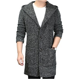 Cashmere Big Pockets Design Hooded Coat Jacket Men