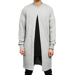 Long Slit Opening Streetwear Men Cardigan Sweatshirt
