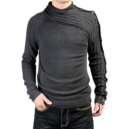 Asymmetric Sleeve Buttons Design Fashion Sweater Knitwear Men