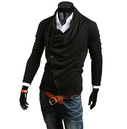 Asymmetric Heap Collar Cardigan Sweater Men