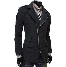 Irregular Pocket Oblique Zipper Coat Jacket Men