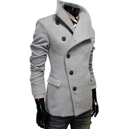 Oblique Single Row Clasp Slim Stand Collar Coat Men