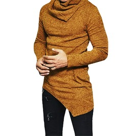 Cowl Neck Slim Fit Asymmetrical Sweatshirt Men