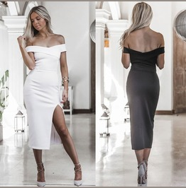 Fashion Women Off Shoulder Short Sleeve Bodycon Dress