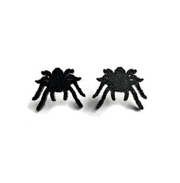 Black Glitter Spider Earrings, Acrylic Tarantula Studs
