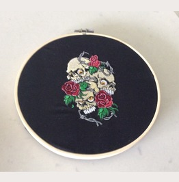 Embroidered 3 Skulls With Roses And Barbed Wire Wall Hanging Gothic