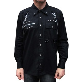 Mens Goth Black Zips Chains Shirt Cotton Punk Metal Studs Long Sleeve Shirt