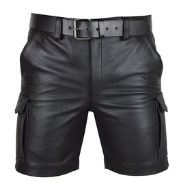 Men's Real Leather Cargo Shorts Club Wear Casual Shorts Free Leather Belt