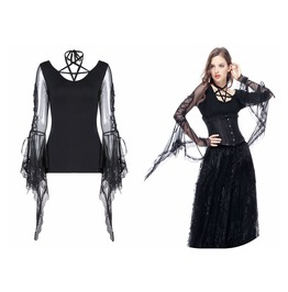 Tw145 Gothic Punk Star Long Sleeve T Shirt