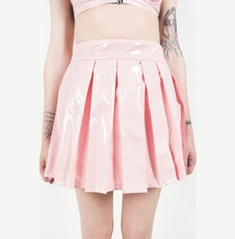 Iron Fist Vinyl Classic Pleated Skirt (Pink)