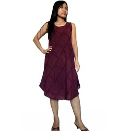 Women's Patchwork Tops/Dress Burgundy Color 100% Cotton Lightweight D018
