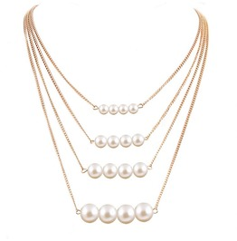 Elegant Pearl Beads Multi Layer Gold Clavicle Long Chain Statement Necklace