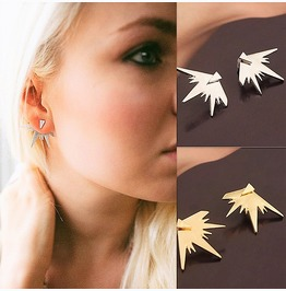 Steampunk Spike Triangle Electric Thunderstorm Back Finding Stud Earrings