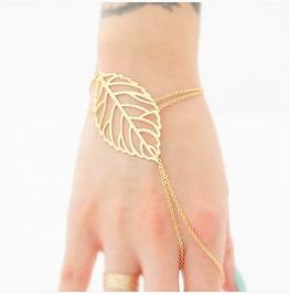 Boho Gold Leaf Indian Style Cut Hand Chain Ring Slave Bracelet