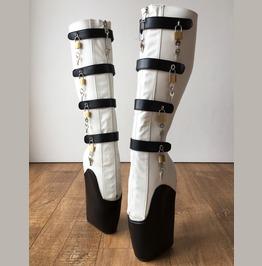 18cm 10 Keys Lockable Beginner Ballet Wedge Boot Hoof Heelless Black White