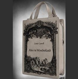 "Grey Book Bag ""Alice In Wonderland"" Gothic Lolita Handbag, Lewis Carroll"