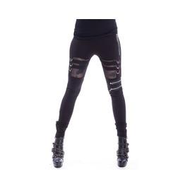 Inka Leggings Gothic Buckle Shear Strapped Black Leggings