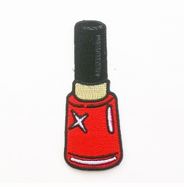 Red Nail Polish Embroidered Iron On Patch.