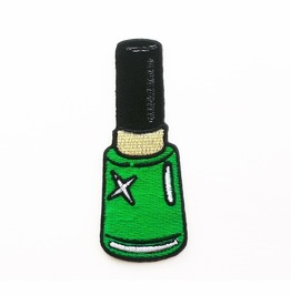 Green Nail Polish Embroidered Iron On Patch.