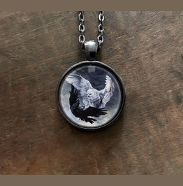 Yin Yang Owl And Raven Pendant Necklace With Original Artwork