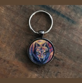 Colorful Wolf Keychain With Original Artwork