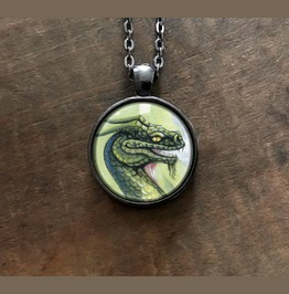 Green Dragon Pendant Necklace With Original Artwork