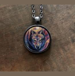 Rainbow Wolf Pendant Necklace With Original Artwork