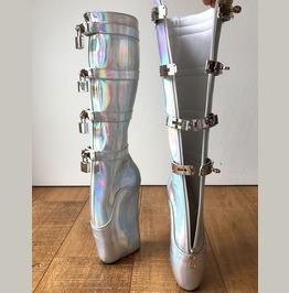 18cm Diva Lockable Beginner Ballet Wedge Boot Hoof Heelless Holograhic