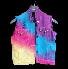 Harajuku Fashion Tie Dyed Rock Rivet Denim Vest
