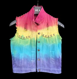 Custom Made Tie Dyed Denim Vest Womens Fashion Sleeveless Vest