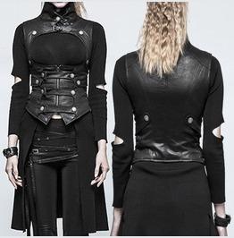 Women Steampunk Waistcoat Gothic Black Buckle Straps Women Vest And Zip