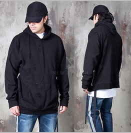 Webbing Strap Accent Distressed Hoodie 160