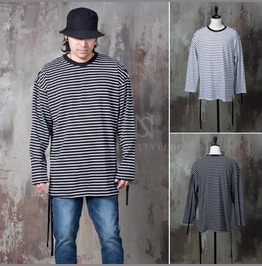 Strap Attached Striped Shirts 814