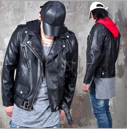 Hooded Leather Jacket 117