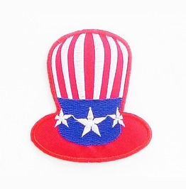 Hat Of Usa Flag Jocker Embroidered Iron On Patch.