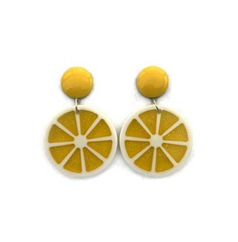 Retro Fruit Slice Earrings Yellow Lemon, Pink Grapefruit