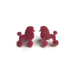 Pink Glitter Poodle Earrings Retro Sparkly Jewelry